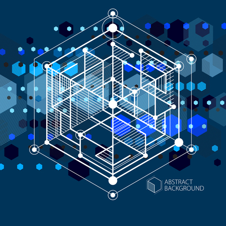 Vector of modern abstract cubic lattice lines blue black background. Layout of cubes, hexagons, squares, rectangles and different abstract elements. Abstract technical 3D background. Illustration