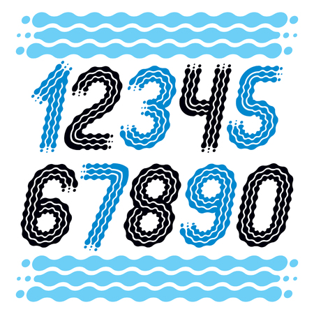 Vector trendy, cool numbers collection. Rounded bold italic numerals from 0 to 9 can be used in retro, disco, pop poster design. Created using waves, flowing lines.