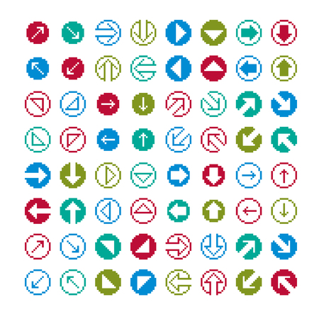 Set of vector retro cursor signs made in pixel art style. Simplistic arrows pointing at different directions, geometric pixilated symbols.