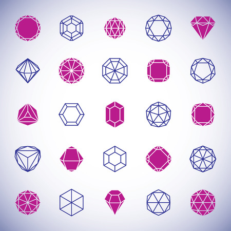 Vector abstract geometric forms collection can be used as corporate business identity logo. Faceted gemstone sign.