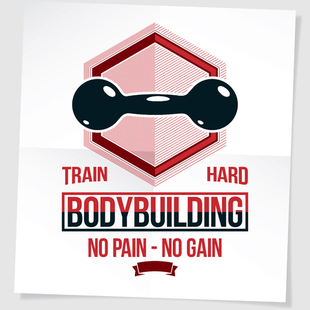 Cross fit motivation poster created with dumbbell vector element. No pain no gain writing.