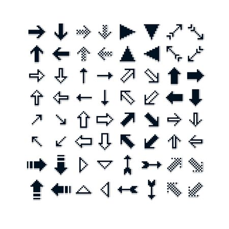 Different vector arrows, pixel icons isolated, collection of 8bit graphic elements. Simplistic digital direction signs, web icons.  Çizim
