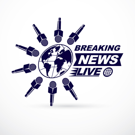 Social telecommunication theme vector logo created with Earth planet illustration surrounded with microphones and with breaking news inscription. Press conference concept. Illustration