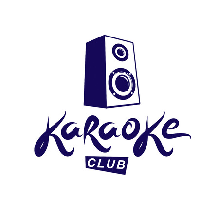 Karaoke club emblem composed using subwoofer vector illustration, musical equipment. Nightclub discotheque amplifier, design element for use in invitation leaflets.