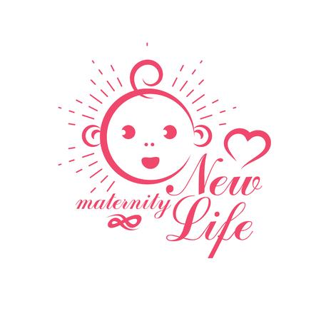 Newborn vector illustration. New life beginning drawing. Obstetrics and gynecology clinic advertising banner Illustration