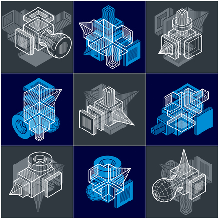 A 3D engineering vectors, collection of abstract shapes. Illustration