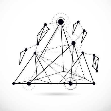 Isometric abstract vector low poly shape. Communication technologies modern illustration.