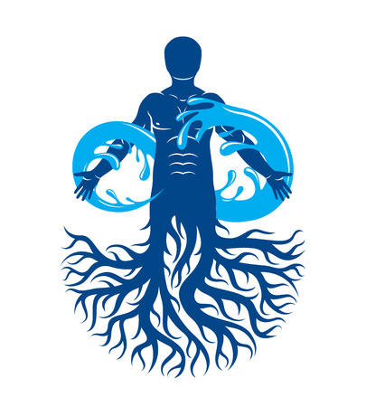 Vector illustration of human being, strong athlete with tree roots and limitless symbol composed from water splash. Human water consumption idea. Vettoriali