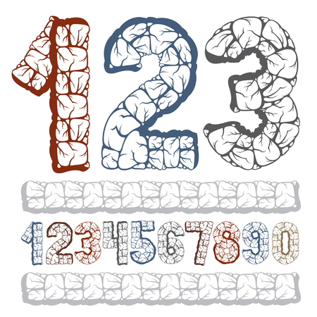 Set of stylish vector digits, modern numerals collection. Bold numbers from 0 to 9 can be used for logo creation, poster design. Made with 3d granite structure style. Ilustrace