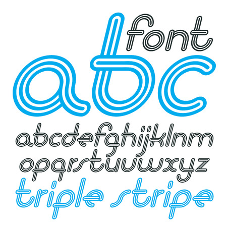 Vector retro lowercase English alphabet letters, abc collection. Cool disco cursive font, script from a to z can be used in poster art. Created using geometric triple stripes.