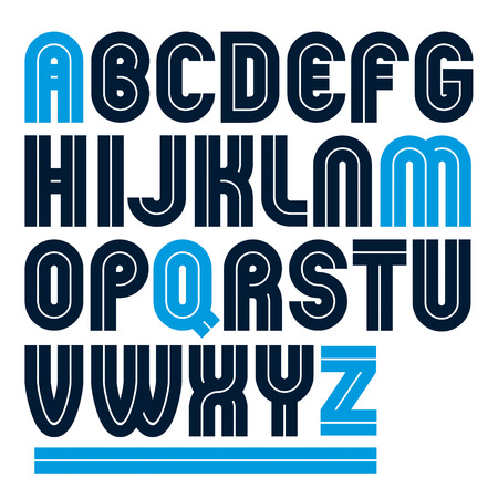 Vector capital bold English alphabet letters made with white lines, best for use in corporate logotype design  Illustration