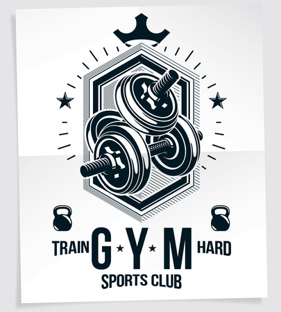 Heavy load power lifting championship vector advertising poster created with disc weight dumbbell, kettle-bell sport equipment and royal crown. Train hard lettering.