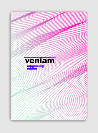 Abstract line art vector minimal contemporary brochure design, cover template, geometric halftone gradient.