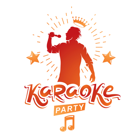 Karaoke party advertising poster composed with stage or recorder microphone vector illustration and musical notes. Superstar performance advertising announcement, feel yourself like a star.
