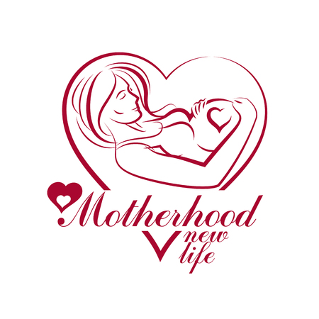 Vector hand-drawn illustration of pregnant elegant woman expecting baby, sketch. Neonatal care center advertising poster.