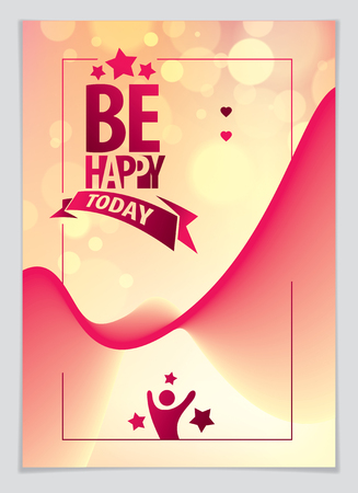 Birthday vector greeting card. Includes lettering composition and balloons combined with wavy fluid colorful shape abstract background. A4 format with CMYK colors acceptable for print. Illusztráció
