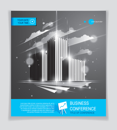 Office building brochure, modern architecture vector flyer with blurred lights and glares effect. Real estate business center grey design. 3D futuristic facade business conference print template.