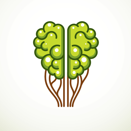 Tree Brain concept, the wisdom of nature, intelligent evolution. Human anatomical brain in a shape of green tree. Brain feeding with diet products. Vector icon design.