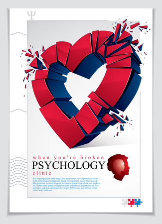 Broken Heart concept breakup, 3D realistic vector illustration of heart symbol exploding to pieces, flyer or brochure for psychology clinic, consultation and therapy. Creative idea of breaking love. Ilustração