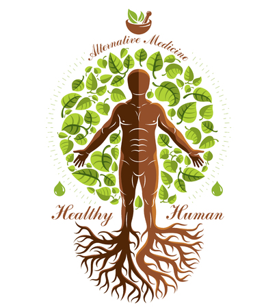 Vector graphic illustration of strong male depicted as continuation of tree and composed with mortar and pestle. Phytotherapy metaphor, healthy lifestyle concept. Иллюстрация