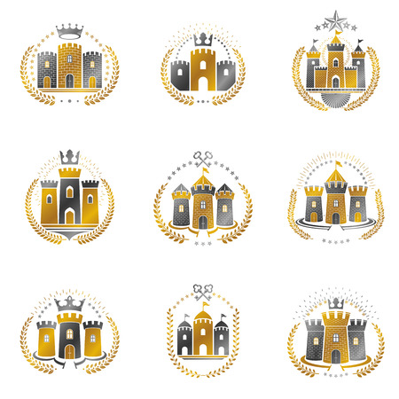 Ancient Fortresses emblems set. Heraldic Coat of Arms, vintage vector icon collection.