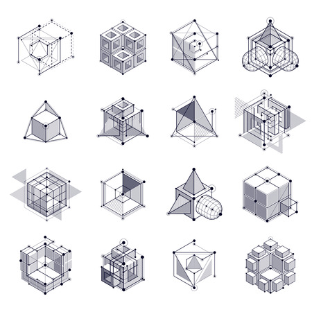 Engineering technology vector black and white wallpapers set made with 3D cubes and lines. Engineering technological wallpaper made with honeycombs. Abstract technical background. Vectores