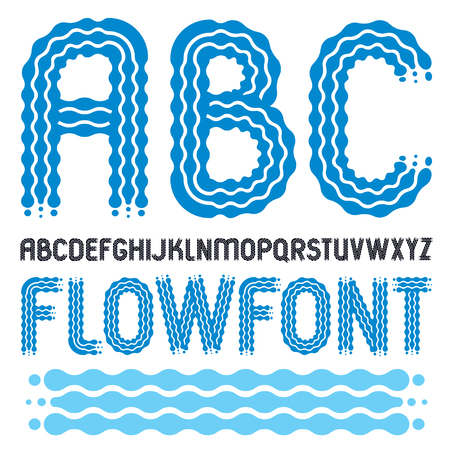 Set of trendy pop vector capital English alphabet letters, abc isolated. Rounded bold retro 70s font, typescript for use in icon design. Made using flow, wavy lines.