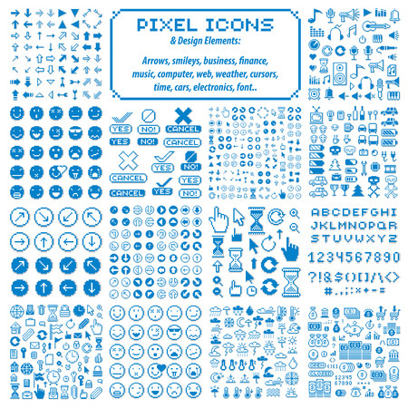 Vector pixel icons isolated, collection of 8 bit graphic elements. Simplistic digital signs made in economic, business, social and emotion concepts.