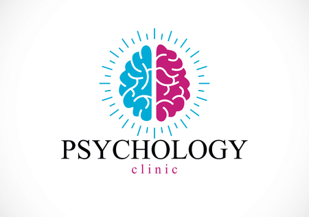 Human anatomical brain, mental health psychology conceptual icon, psychoanalysis and psychotherapy concept. Vector simple classic design.
