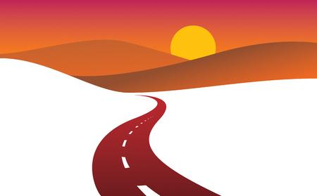 Perfekte Designillustration der gekrümmten Landstraße der Landstraße. Der Weg zur Natur Sonnenuntergang, Hügel und Felder Camping und Reisethema. Kann als Straßenbanner oder Werbetafel mit Kopierraum für Text verwendet werden. Vektorgrafik