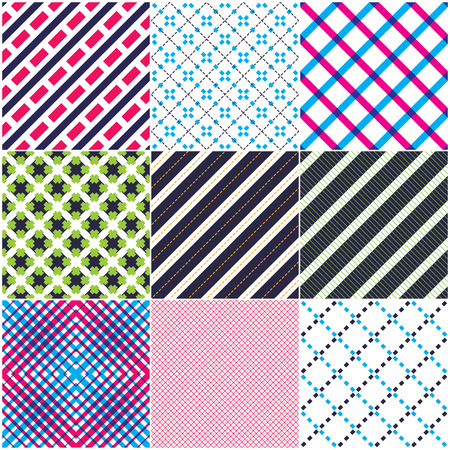 Minimal lines vector seamless patterns set, abstract backgrounds collection. Simple geometric designs. Seamless lines vector minimalistic arts. Crossed lines grid, diagonal lines, dashed lines, dotted ornaments. Illustration