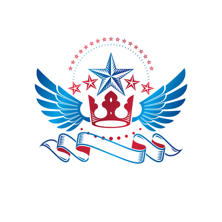 Winged ancient Star emblem decorated with imperial crown and luxury ribbon. Heraldic vector design element, 5 stars award symbol. Retro style label, heraldry icon.