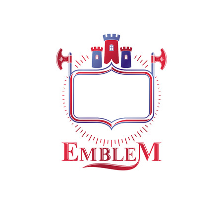 Ancient Bastion emblem. Heraldic vector design element with sharp hatchets. Retro style label, heraldry icon composed using medieval stronghold and luxury ribbon.