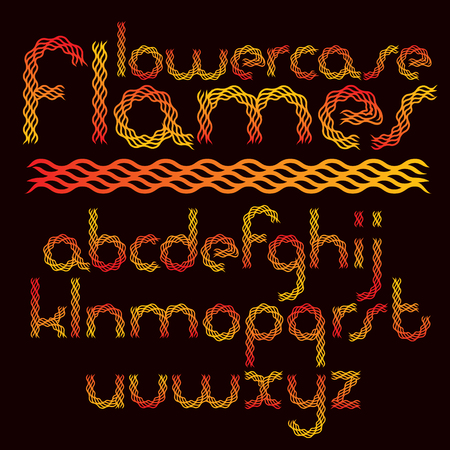 Vector rounded lower case English alphabet letters collection created using hell fiery style Illustration
