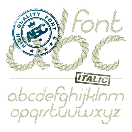 Vector italic lower case alphabet letters collection made with spirograph pattern, guilloche ornament. For use as bank notes or bonds design. Stock fotó - 101040806