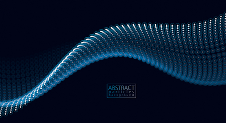 Flowing particles wave, dynamic sound motion. 3d vector illustration. Beautiful wave shaped array of glowing dots. Illustration