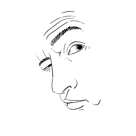 Vector drawing of drunk man or gambler with wrinkles on his forehead. Black and white portrait of tricky guy, mask with features.  イラスト・ベクター素材