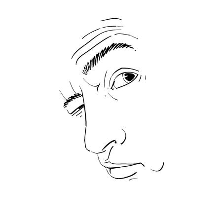 Vector il disegno di un uomo ubriaco o giocatore d'azzardo con le rughe sulla fronte. Ritratto in bianco e nero di ragazzo difficile, maschera con caratteristiche. Vettoriali