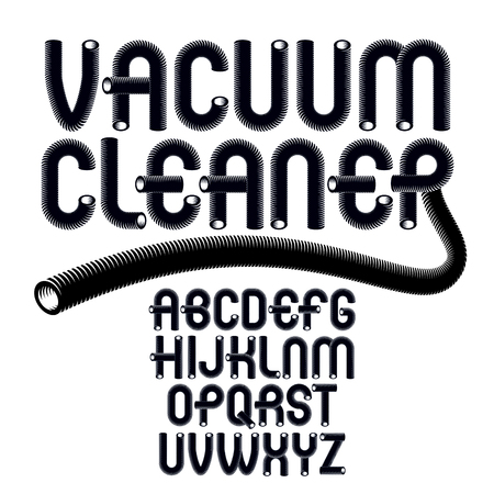 Vector upper case modern alphabet letters set. Funky rounded font, typescript for use in logo creation. Made with industrial hose, 3d cylinder tube design.