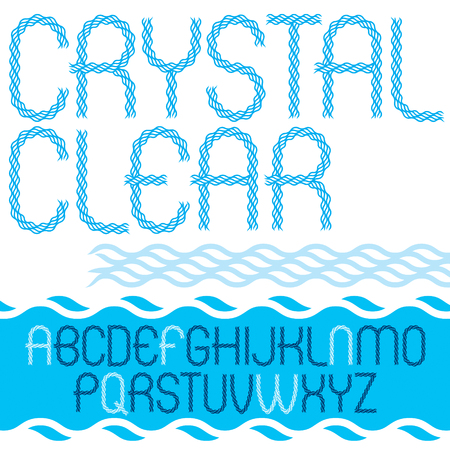 Vector capital narrow alphabet letters collection made with abstract flowing rhythm wave lines, crystal clear.
