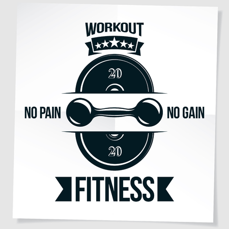 Cross fit motivation poster created with dumbbell and disc weight vector element.