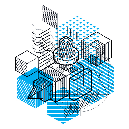 Abstract 3d shapes composition, vector isometric background. Composition of cubes, hexagons, squares, rectangles and different abstract elements. Illustration
