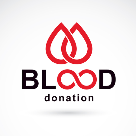 Vector blood donation inscription created with limitless symbol. Save life and donate blood conceptual illustration.