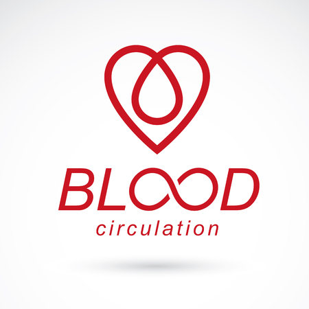 Vector red heart with blood circulation inscription. Blood transfusion metaphor, medical care emblem for use in pharmacy.