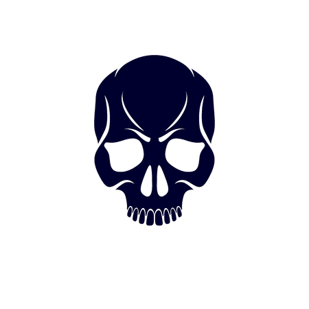 Scary scull graphic vector illustration. Demonic infernal creature, wicked Baphomet vector symbol.