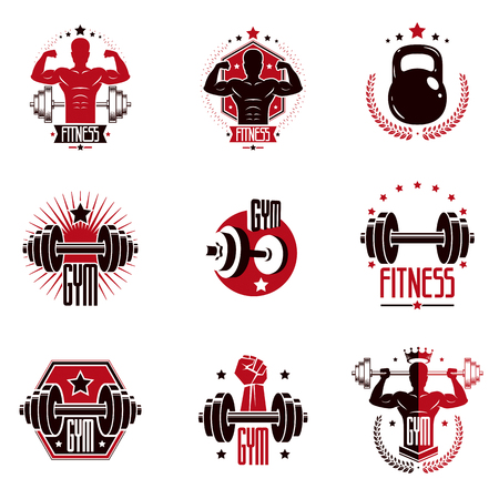 Gym weightlifting and fitness sport club logos, retro stylized vector emblems or badges set.