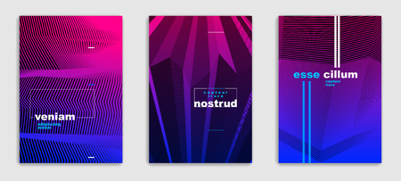Line art vector minimalistic modern brochures set design, cover templates, geometric halftone gradient. For Banners, Placards, Posters, Flyers. Perfect and unlike, pattern texture.  イラスト・ベクター素材