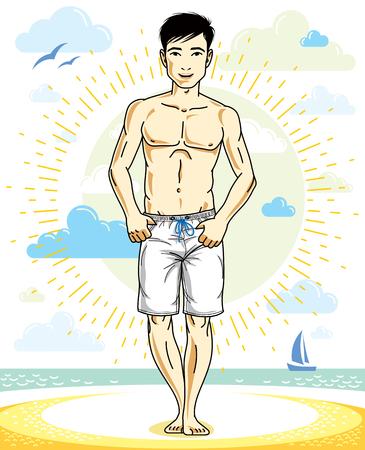 Adulto guapo de pie en la playa tropical en pantalones cortos brillantes. Vector ilustración de hombre agradable y deportivo. Clipart de tema de verano. Ilustración de vector