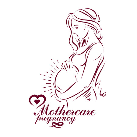Pregnant female beautiful body outline, mother-to-be drawn vector illustration. Maternity ward marketing poster