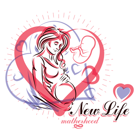 Vector hand-drawn illustration of pregnant elegant woman expecting baby, sketch. Obstetrics and gynecology clinic advertising banner